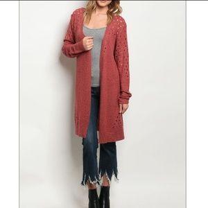Sweaters - LAST ONE (L) ! Mauve Open Long Knit Cardigan